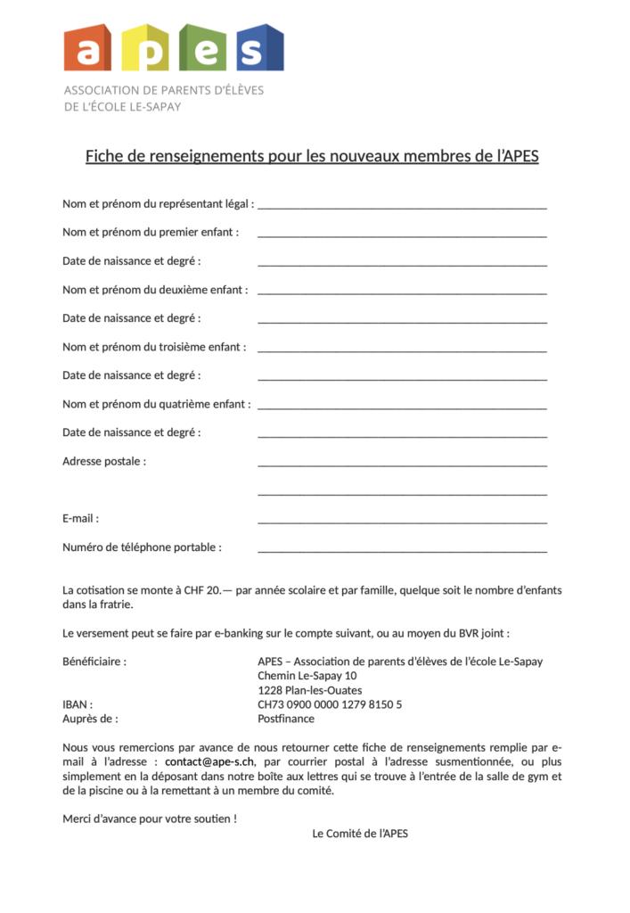 Document adhésion